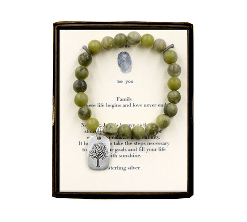 S46DTL14 Family Nephrite Jade 8mm Beaded Bracelet