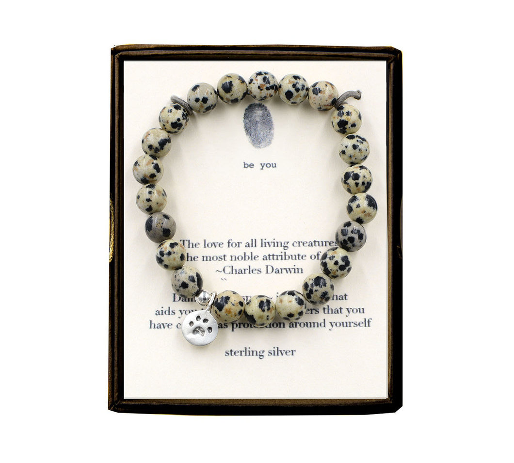 S77N323 The Love For All Living Creatures Dalmatian Jasper Bracelet