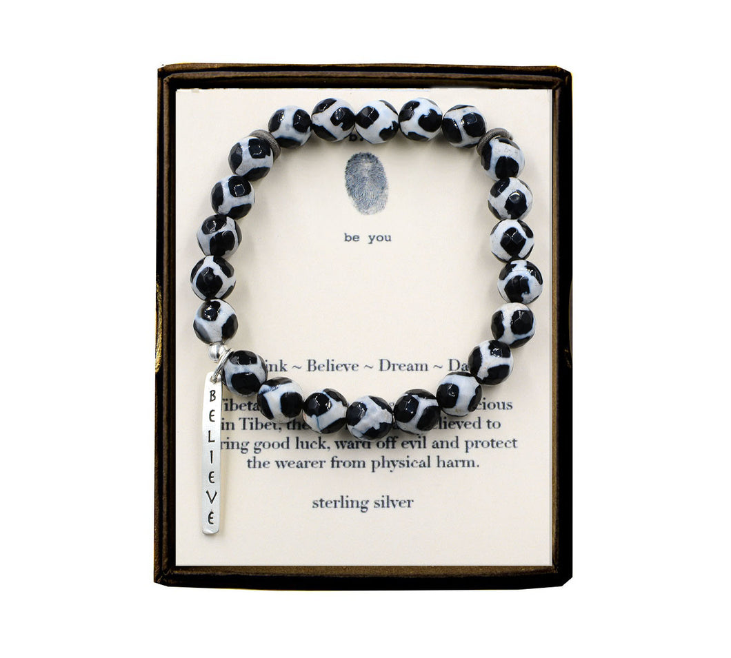 S91E278 Think ~ Believe ~ Dream ~ Dare Tibetan Dzi Bracelet
