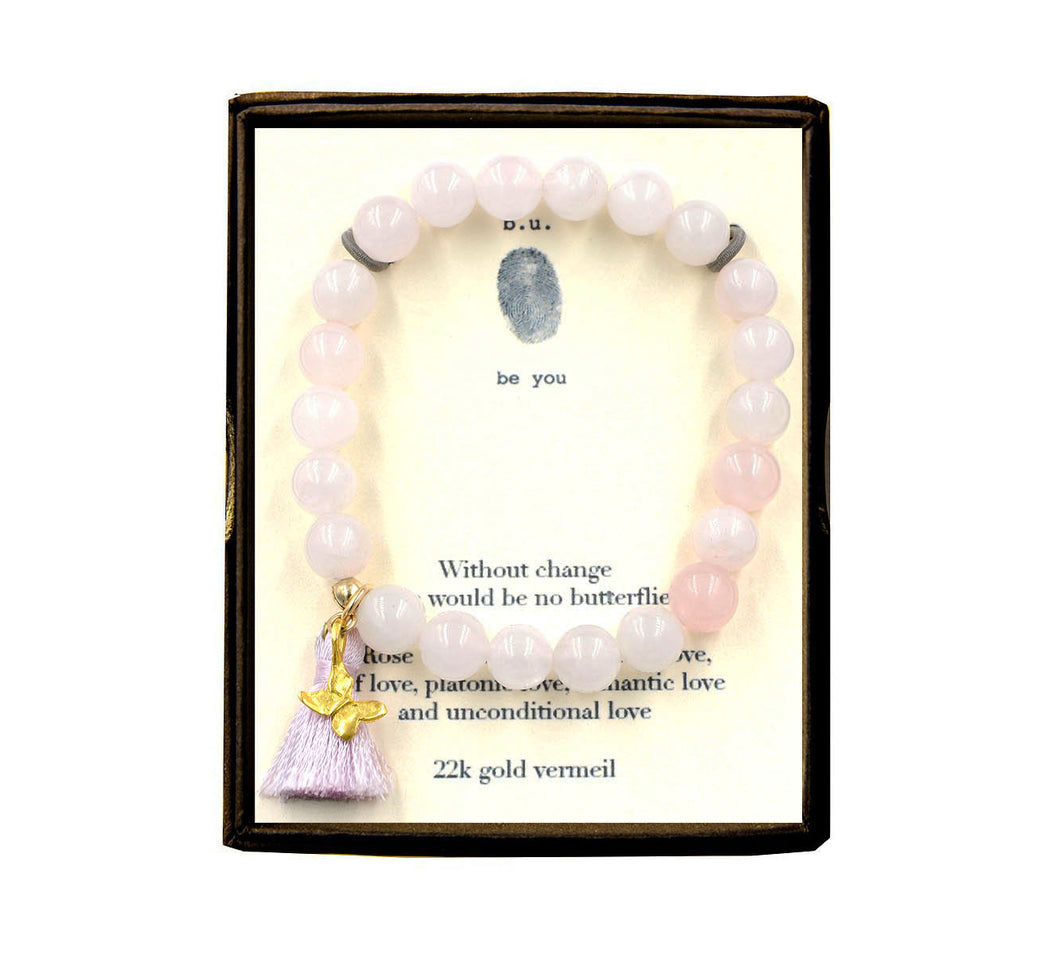 ST18N310V Without Change Rose Quartz w/Tassel Bracelet Gold
