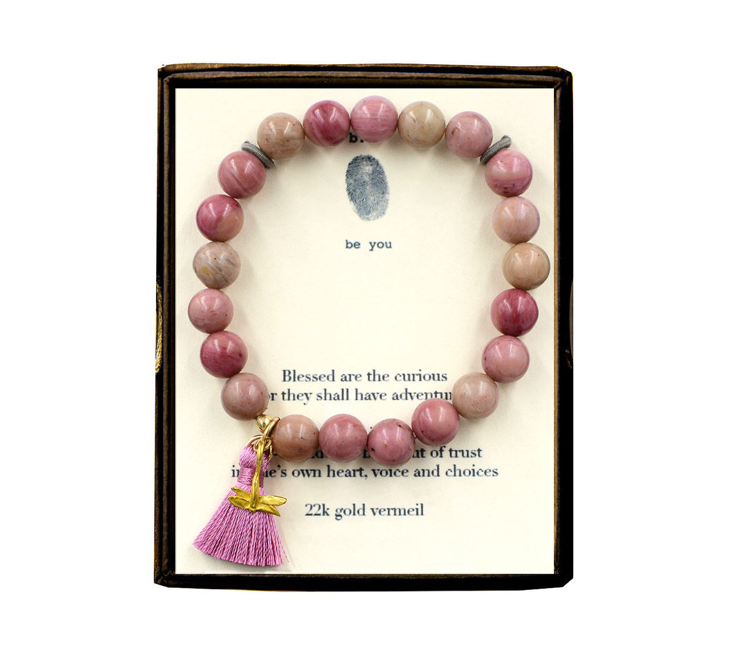 ST24N316V Blessed Are the Curious Rhodonite w/Tassel Bracelet Gold