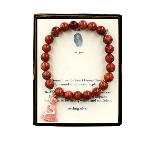 ST34N417 Sometimes the Heart Red Coral w/Tassel Bracelet