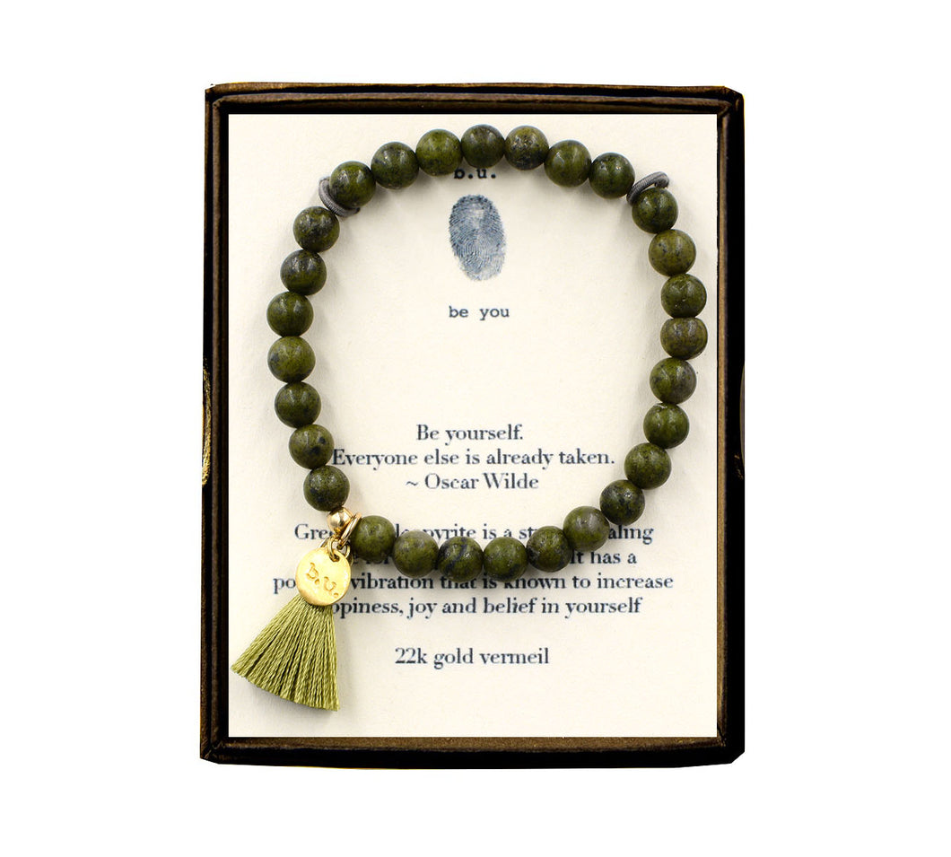ST62E150V Be Yourself Green Chalcopyrite w/Tassel Bracelet Gold