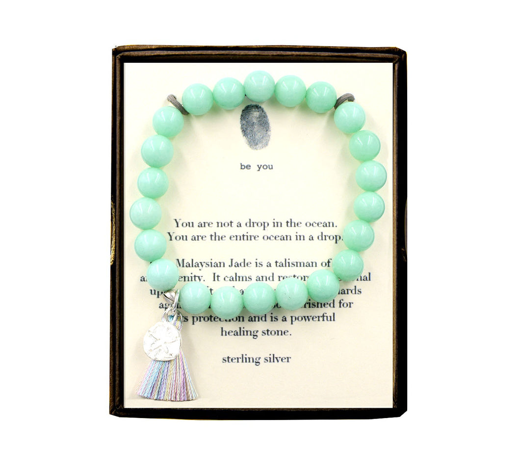 ST75N528 Drop in the Ocean Blue Malaysian Jade w/Tassel Bracelet