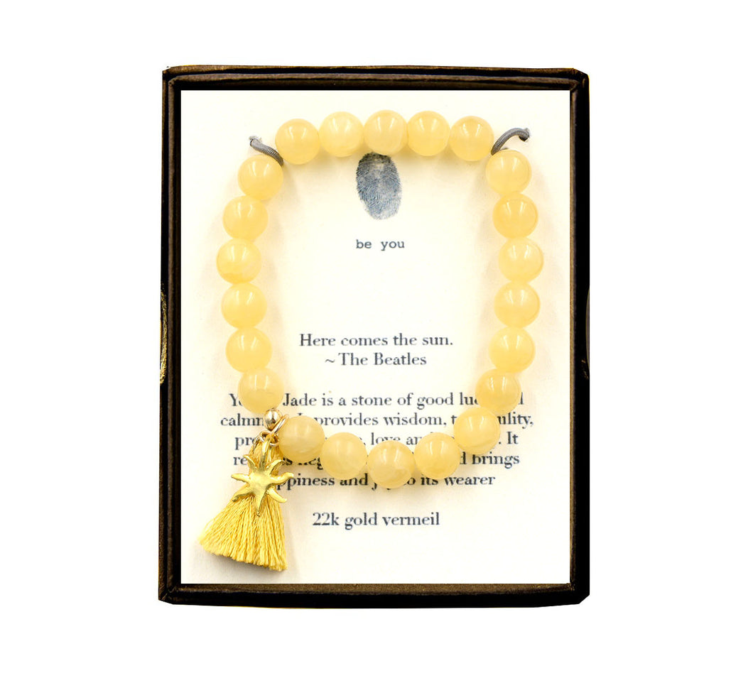 ST79N457V Here Comes the Sun Yellow Jade w/Tassel Bracelet Gold