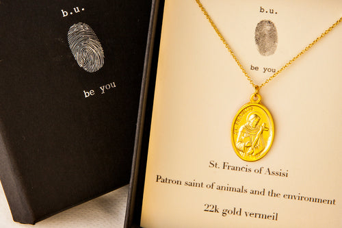N339V Saint Francis of Assisi Gold - b.u. jewelry