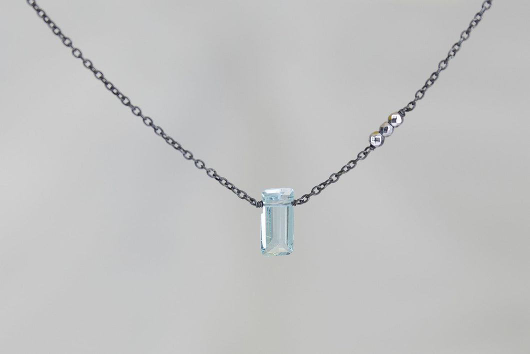 X3BTSHB Blue Topaz Small Baguette Silver Hematite Accent Oxidized Necklace