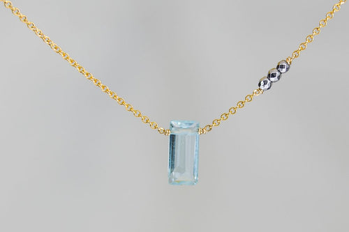 X3BTSHG Blue Topaz Small Baguette Silver Hematite Accent Gold Necklace