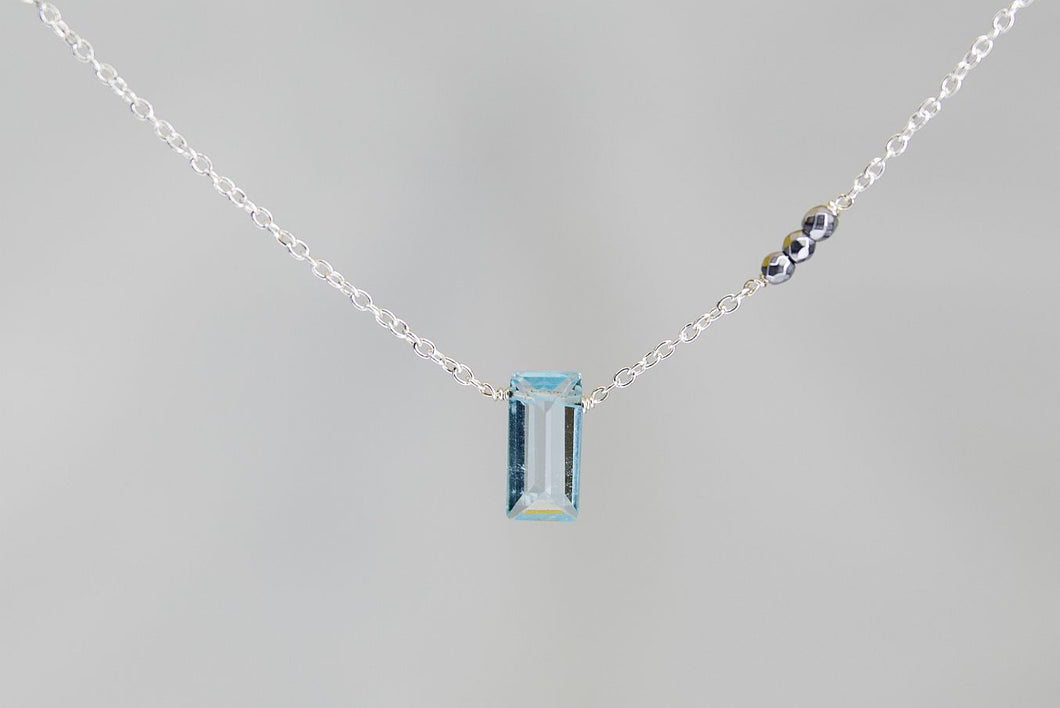 X3BTSHS Blue Topaz Small Baguette Silver Hematite Accent Silver Necklace