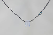 X3CHLBB Chalcedony Small Baguette London Blue Topaz Accent Oxidized Necklace