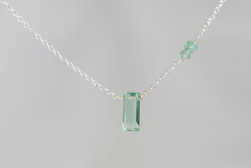 X3FAPS Fluorite Small Baguette Apatite Accent Silver Necklace
