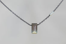 X3LBTB Labradorite Small Baguette Blue Topaz Accent Oxidized Necklace