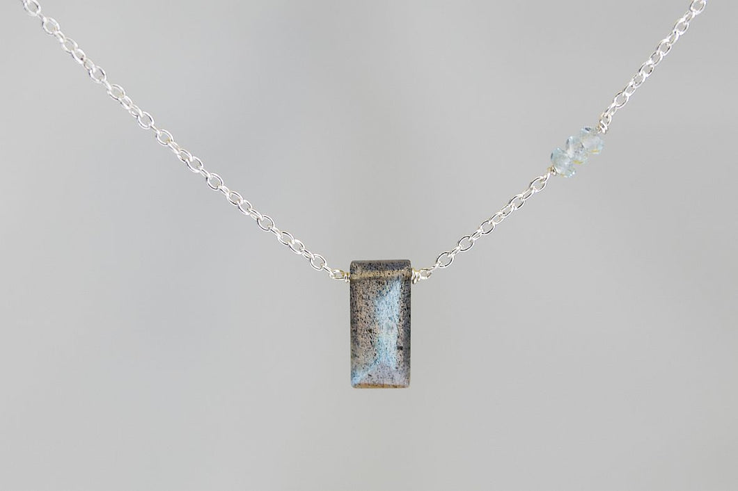 X3LBTS Labradorite Small Baguette Blue Topaz Accent Silver Necklace
