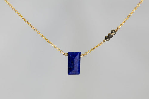 X3LPPYG Lapis Lazuli Small Baguette Pyrite Accent Gold Necklace