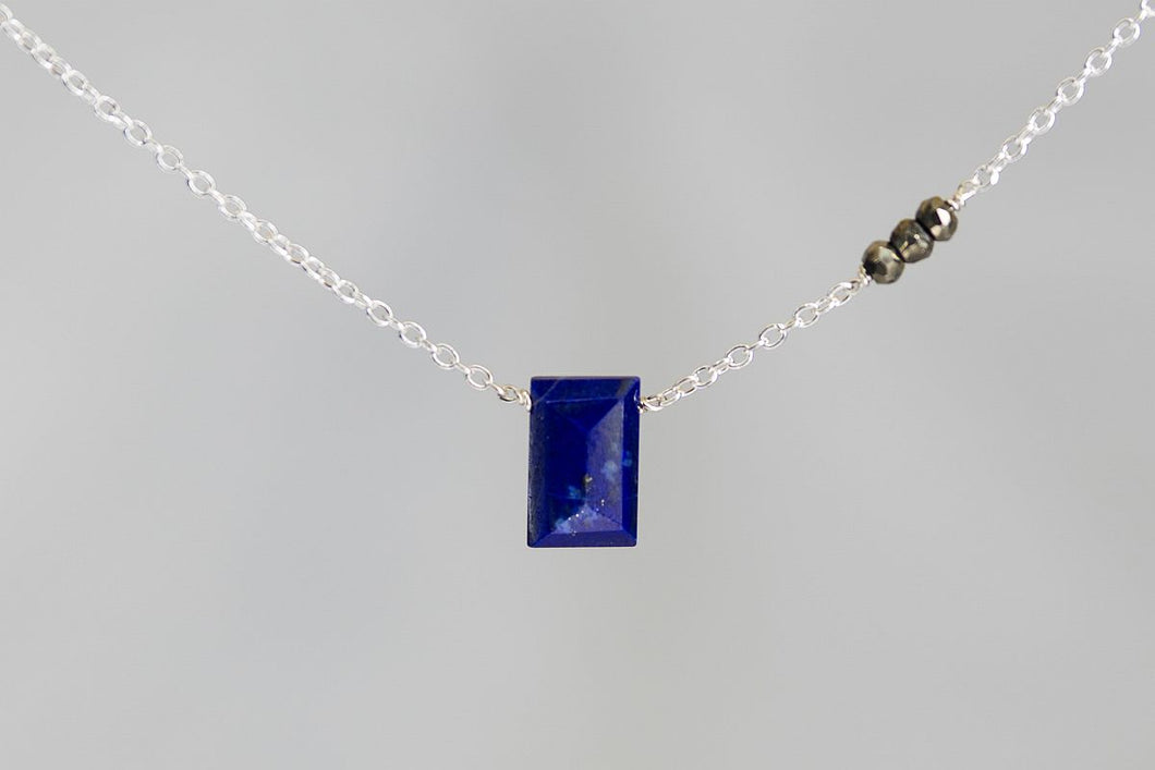 X3LPPYS Lapis Lazuli Small Baguette Pyrite Accent Silver Necklace