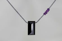 X4BSAB Black Spinel Large Baguette Amethyst Accent Oxidized Necklace