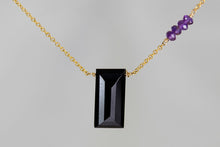 X4BSAG Black Spinel Large Baguette Amethyst Accent Gold Necklace