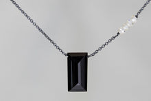 X4BSMQB Black Spinel Large Baguette Mystic Quartz Accent Oxidized Necklace