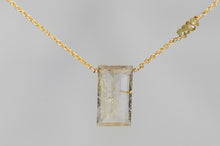 X4GRCGG Gold Rutilated Quartz Large Baguette Change Garnet Accent Gold Necklace