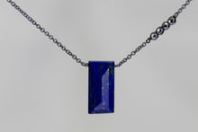 X4LPHMB Lapis Lazuli Large Baguette Hematite Accent Oxidized Necklace