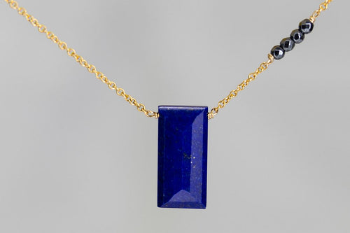 X4LPHMG Lapis Lazuli Large Baguette Hematite Accent Gold Necklace