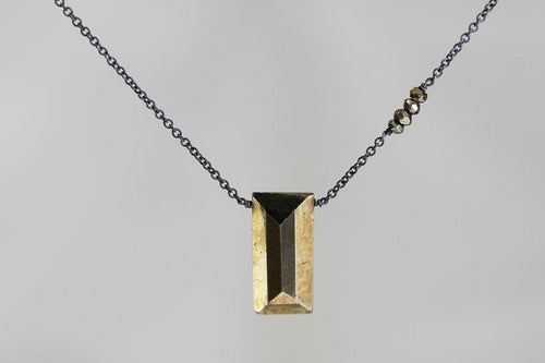 X4PYB Pyrite Large Baguette Pyrite Accent Oxidized Necklace