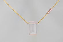 X4RQPPG Rose Quartz Large Baguette Pink Seed Pearl Accent Gold Necklace