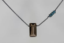 X4SQLBB Smoky Quartz Large Baguette London Blue Topaz Accent Oxidized Necklace