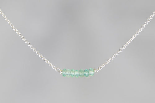 X7APS Apatite Lucky 7 Rondelle Silver Necklace