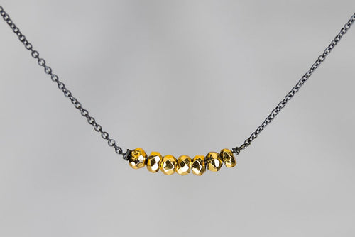 X7GPYB Gold Pyrite Lucky 7 Rondelle Oxidized Necklace