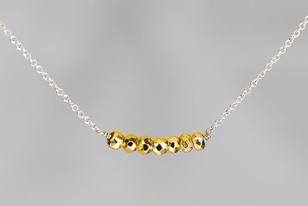 X7GPYS Gold Pyrite Lucky 7 Rondelle Silver Necklace