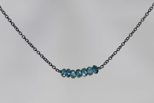 X7LBB London BlueTopaz Lucky 7 Rondelle Oxidized Necklace