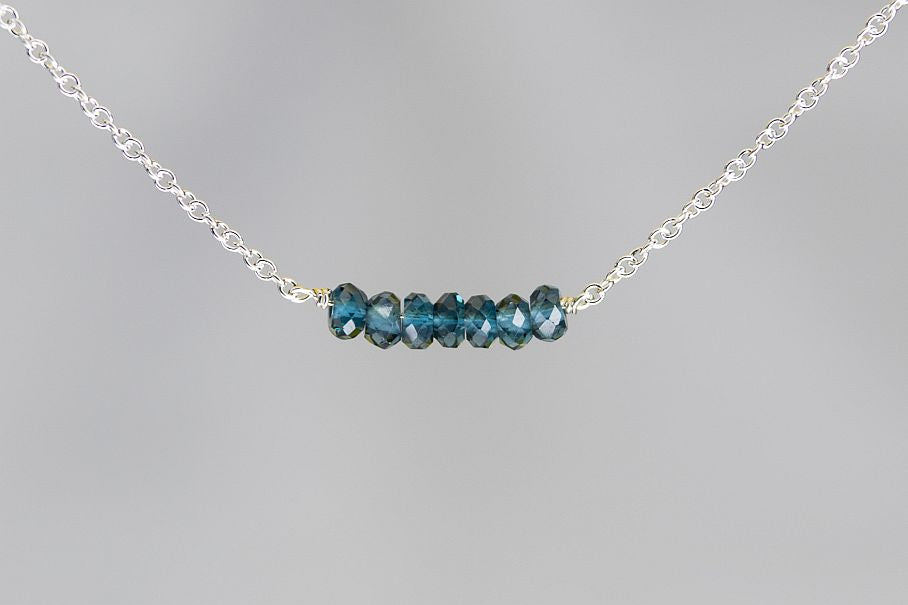 X7LBS London BlueTopaz Lucky 7 Rondelle Silver Necklace