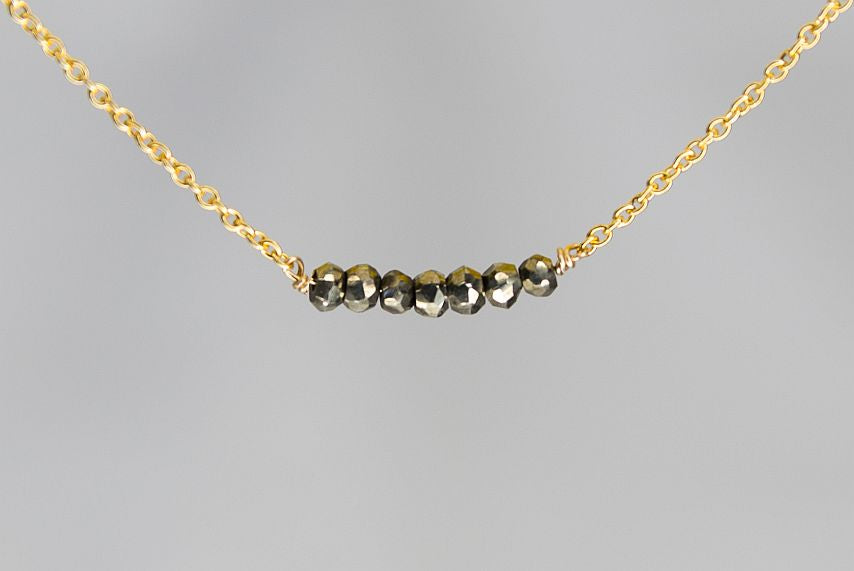 X7PYG Pyrite Lucky 7 Faceted Rondelle Gold Necklace