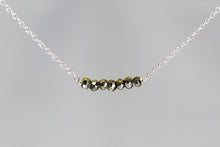 X7PYS Pyrite Lucky 7 Faceted Rondelle Silver Necklace