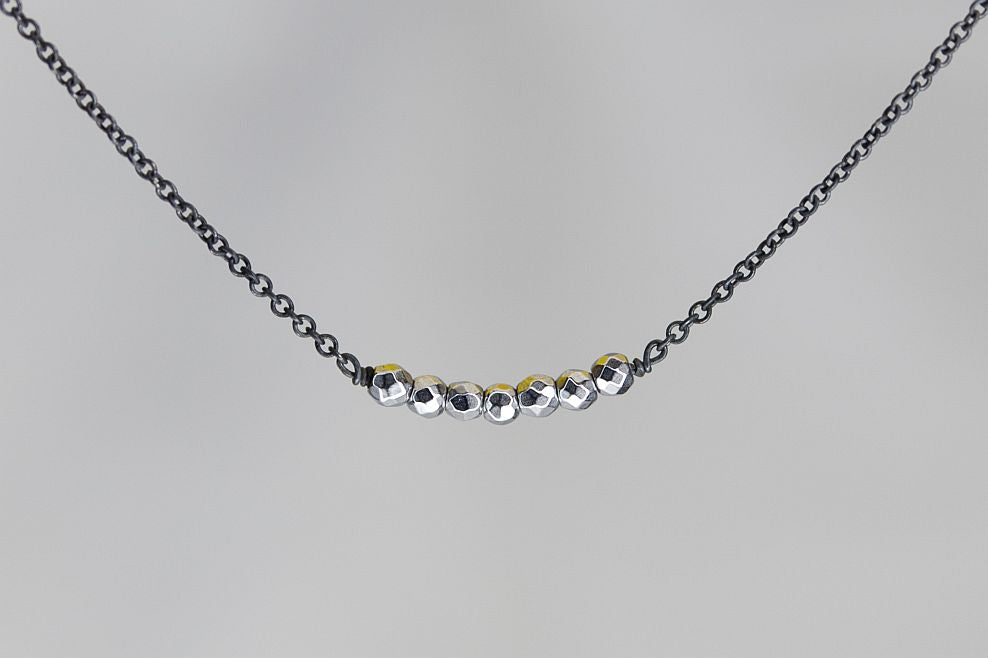 X7SHB Silver Hematite Lucky 7 Rondelle Oxidized Necklace
