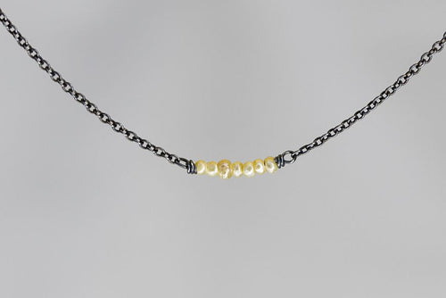 X7SPB Seed Pearl Lucky 7 Rondelle Oxidized Necklace