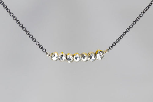 X7SPYB Silver Pyrite Lucky 7 Rondelle Oxidized Necklace