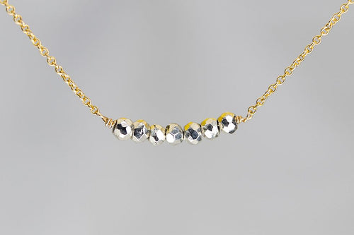 X7SPYG Silver Pyrite Lucky 7 Rondelle Gold Necklace