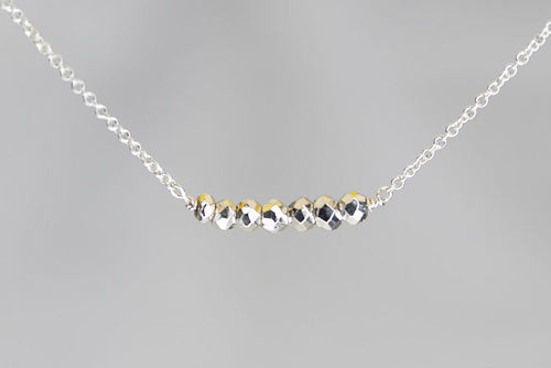 X7SPYS Silver Pyrite Lucky 7 Rondelle Silver Necklace