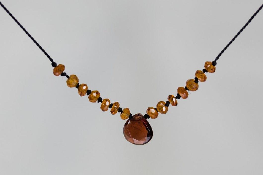 XCGHG Garnet & Hessonite Garnet on Silk Cord
