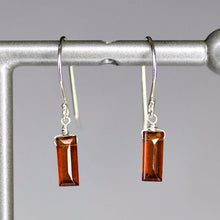XE1HGS Small Baguette Earring Hessonite Garnet Silver