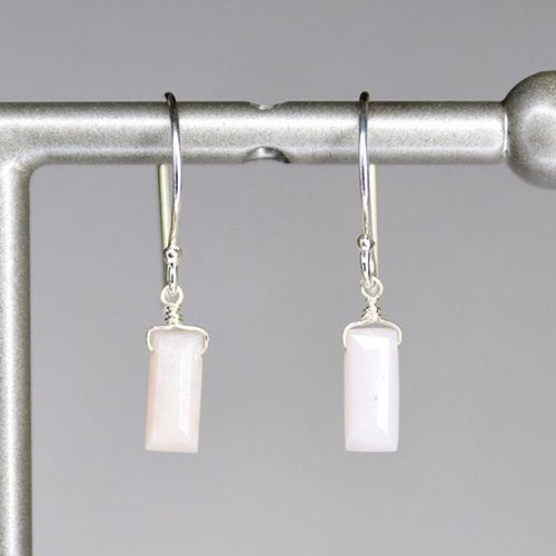 XE1POS Small Baguette Earring Pink Opal Silver