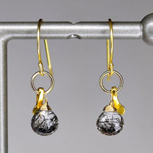 XE2BQG Black Rutilated Quartz Earring with Gold accent