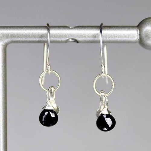 XE2BSS Black Spinel Earring with Silver accent