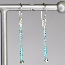 XE3APS Faceted Apatite Rondelle Earring Silver