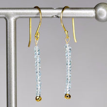 XE3BTG Faceted Blue Topaz Rondelle Earring Gold