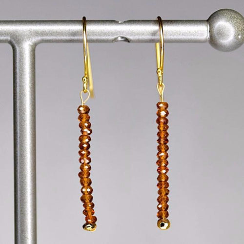 XE3HG Faceted Hessonite Garnet Rondelle Earring Gold