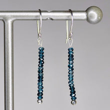 XE3LBS Faceted London Blue Topaz Rondelle Earring Silver