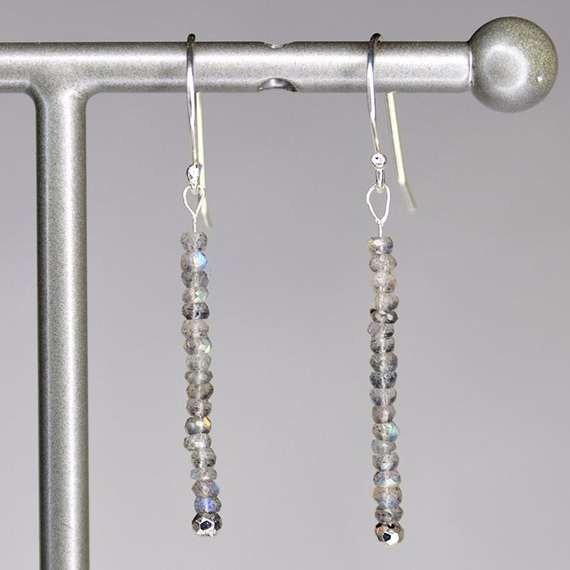 XE3LS Faceted Labradorite Rondelle Earring Silver